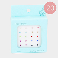 20PCS - Assorted Tiny Crystal Sterling Silver Nose Stud