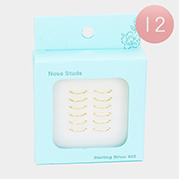 12PCS - Gold Sterling Silver Nose Ring Stud