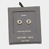 Secret Box _ CZ Zodiac Sign Cancer Stud Earrings