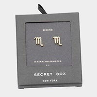 Secret Box _ CZ Zodiac Sign Scorpio Stud Earrings