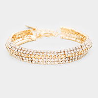 Rhinestone Pave Metal Bubble Accented Evening Bracelet