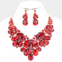 Crystal Teardrop Oval Marquise Statement Necklace