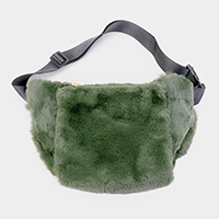 Solid Fluffy Faux Fur Fanny Pack / Hand Warmer