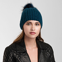 Knitted Faux Fur Pom Pom Beanie Hat