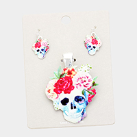 Watercolor Floral Skull Magnetic Pendant Set