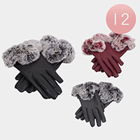 12PCS - Faux Fur Trim Pom Pom Ladies Gloves