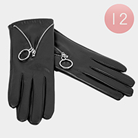 12PCS - Faux Leather Zipper Smart Touch Gloves