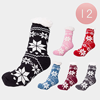 12Pairs - Snowflake Knit Lining Rubber Grippers Socks