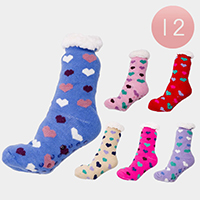 12Pairs - Heart Knit Lining Rubber Grippers Socks