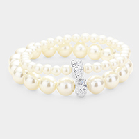 2PCS - Pearl Rhinestone Ball Stretchable Bracelets