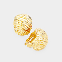 Diagonal Rope  Textured Metal Clip on Earrings