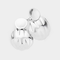 Crumbled Round Metal Clip on Earrings