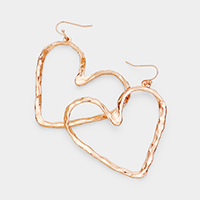 Hammered Metal Heart Dangle Earrings