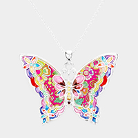 Enamel Floral Patterned Butterfly Pendant Necklace