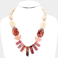 Semi Precious Stone Wood Bead Statement Necklace