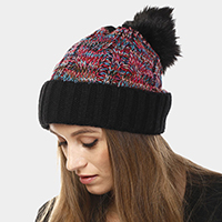 Multi Color Cable Knit Pom Pom Beanie Hat
