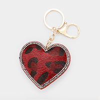 Rhinestone Trimmed Leopard Heart Leather Key chain