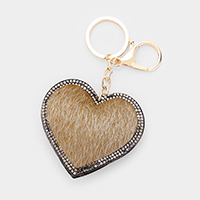 Rhinestone Trimmed Heart Leather Key chain
