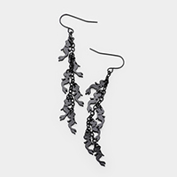 Metal Mermaid Cluster Vine Dangle Earrings