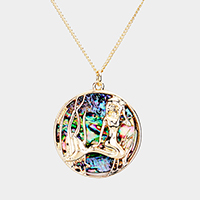 Mermaid Round Abalone Disc Pendant Necklace