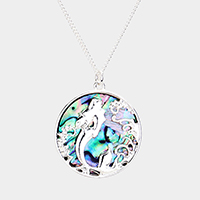 Swimming Mermaid Round Abalone Disc Pendant Necklace