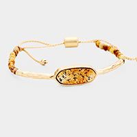 Oval Natural Stone Adjustable Bracelet