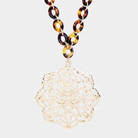 Celluloid Acetate Link Filigree Pendant Long Necklace