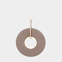 Round Disk Resin Pendant Long Necklace