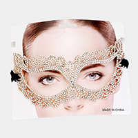 Pave Rhinestone Leaf Cluster Cat Eyes Venetian Mask