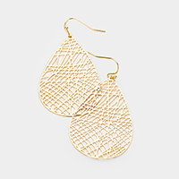 Brass Textured Teardrop Metal Earrings