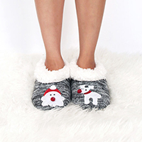Fluffy Lining Santa and Rudolph Slippers