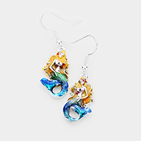 Enamel Mermaid Dangle Metal Earrings