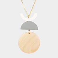 Geometric Wood Link Pendant Long Necklace