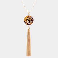'E' Monogram Pearl Metal Tassel Necklace