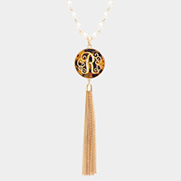 'R' Monogram Pearl Metal Tassel Necklace