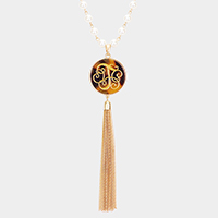 'T' Monogram Pearl Metal Tassel Necklace