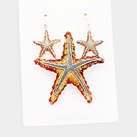 Enamel Textured Starfish Metal Magnetic Pendant Set