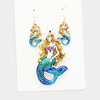 Enamel Textured Mermaid Metal Magnetic Pendant Set