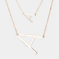 2Row Strand Double 'A' Monogram Detachable Chain Necklace