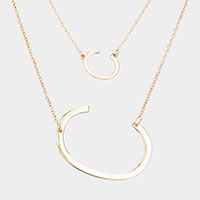 2Row Strand Double 'C' Monogram Detachable Chain Necklace