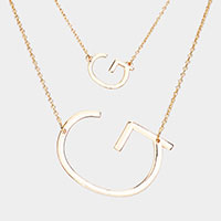 2Row Strand Double 'G' Monogram Detachable Chain Necklace