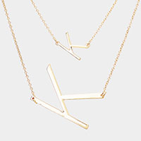 2Row Strand Double 'K' Monogram Detachable Chain Necklace