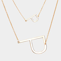 2Row Strand Double 'P' Monogram Detachable Chain Necklace