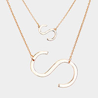 2Row Strand Double 'S' Monogram Detachable Chain Necklace