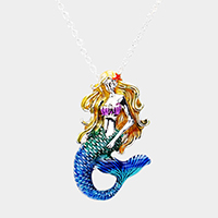 Mermaid Enamel Pendant Necklace