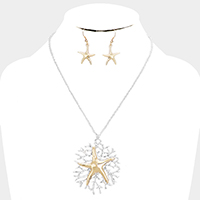 Metal Starfish Coral Pendant Necklace