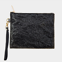 Rhinestone Pave Embellished Rectangle Clutch Bag