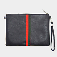 Two Tone Stripe Zipper Rectangle Clutch Bag