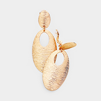 Oval Textured Metal Clip on Earrings