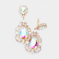 Floral Crystal Teardrop Clip On Evening Earrings